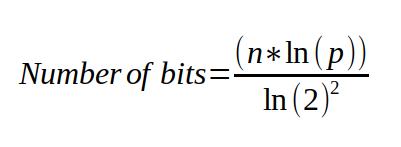 bits = (n * ln(p)) / ((ln(2)^2)