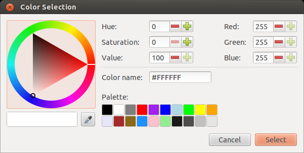 Zenity color palette