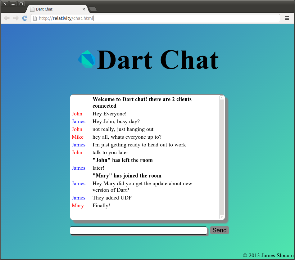 DartChat running in Dartium