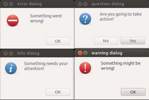 The four zenity dialogs