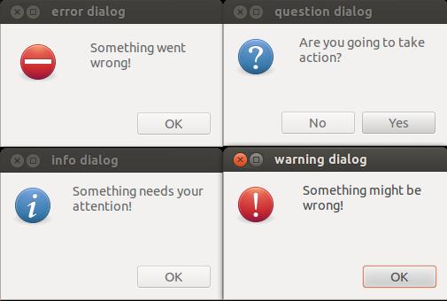 The four zenity dialogs