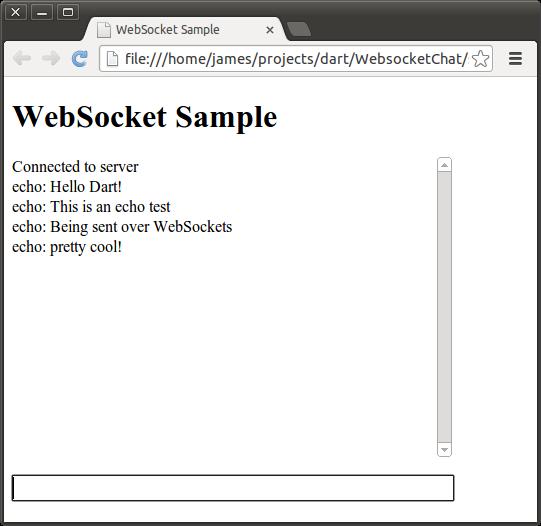 Dartium running sampleclient.html